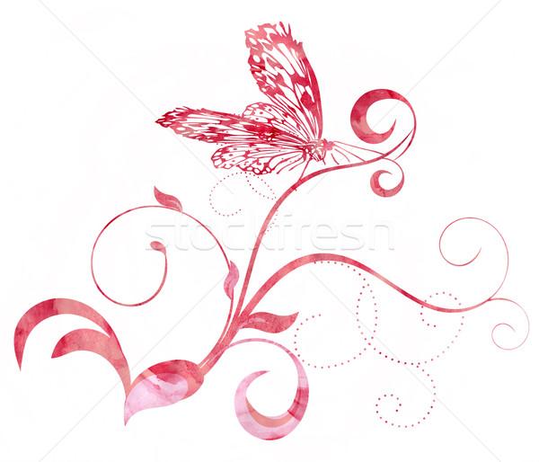 Rojo rosa mariposa curvas acuarela ilustración Foto stock © cherju