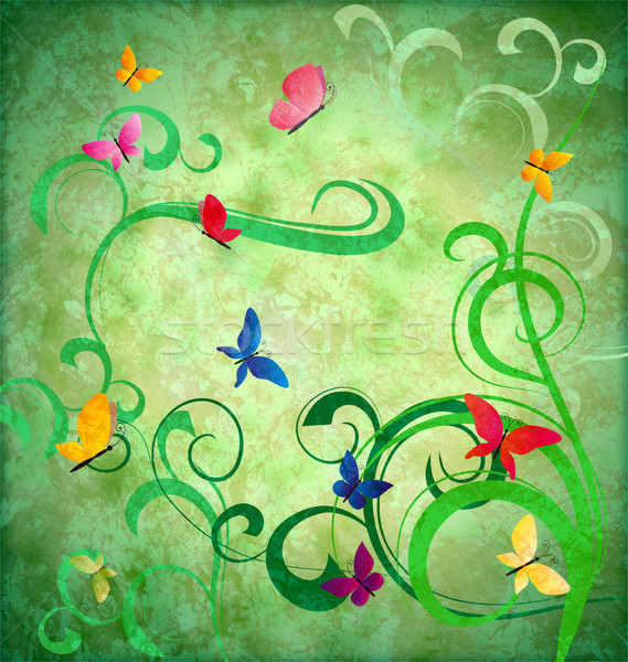 green grunge idea background with flourishes and butterflies eas Stock photo © cherju