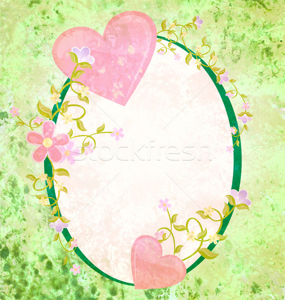 Rosa corazones amor romance oval grunge Foto stock © cherju