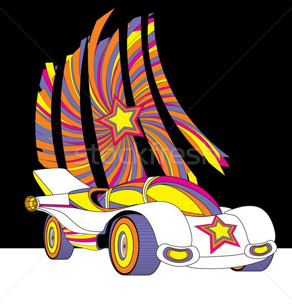 vector style race car with star decor colorful futuristic illust Stock photo © cherju