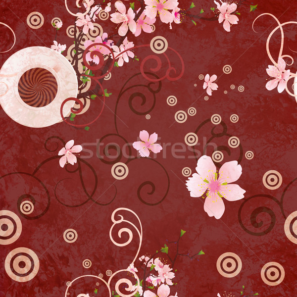 coffee cup, blooming tree branches: spring coffee brown backgrou Stock photo © cherju