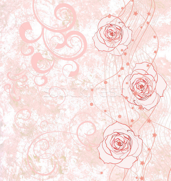 pink roses grunge illustration with flourishes for wedding or bi Stock photo © cherju