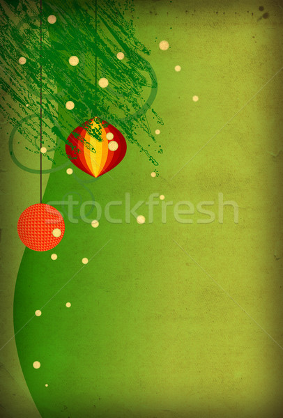 Grunge kerstmis kaart verticaal groene illustratie Stockfoto © cherju