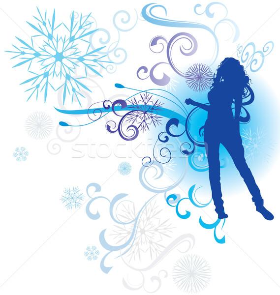 Invierno resumen mujer silueta nina mujeres Foto stock © cherju