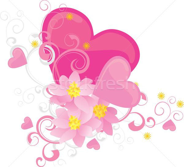 Rózsaszín szívek virágok vektor valentin nap izolált Stock fotó © cherju