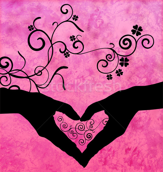 black silhouette of hands shaping heart with flourishes Stock photo © cherju