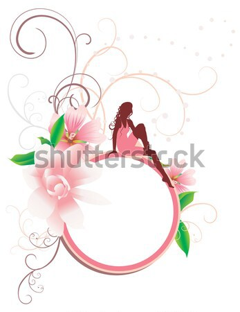 vector young woman in red dress on the tropic beach and hibiskus Stock photo © cherju