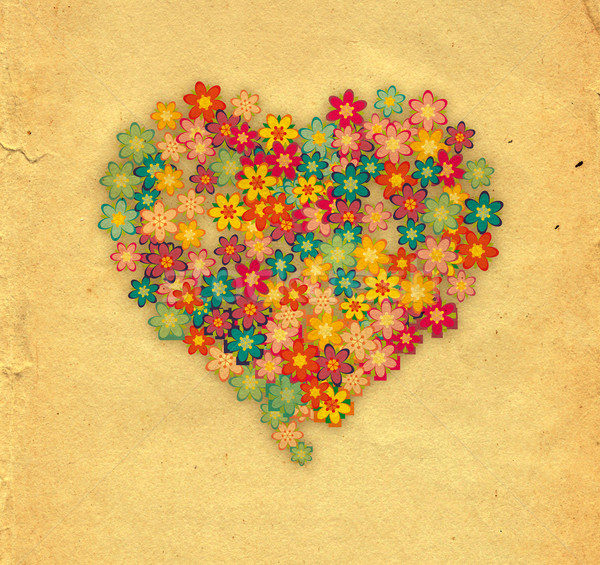Bloemen hart bloem liefde abstract ontwerp Stockfoto © cherju