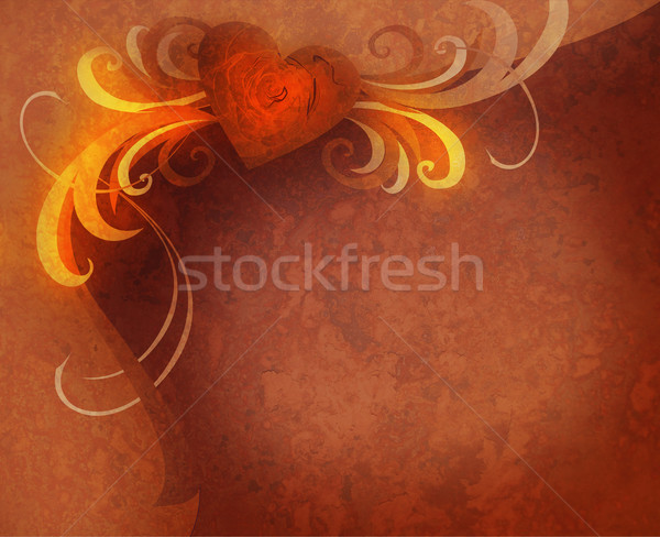 rusty textured red rose heart and flourishes dark vintage Stock photo © cherju