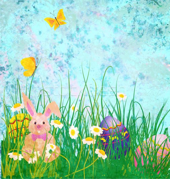 Húsvét nyúl százszorszépek virágok pillangó grunge Stock fotó © cherju