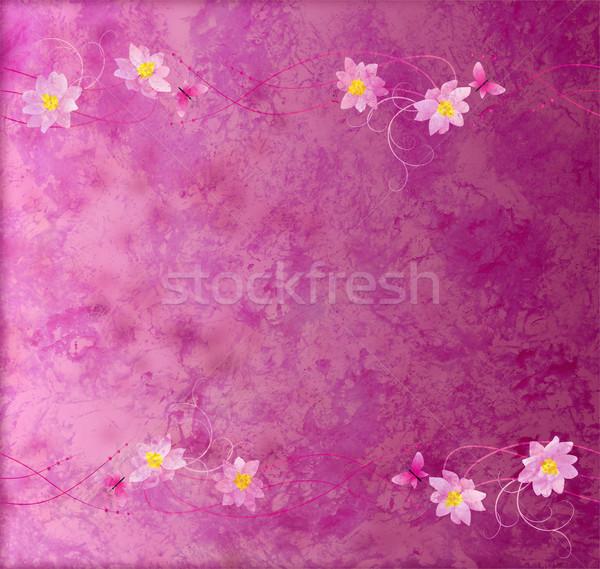 Magenta lila papír virágok keret virág Stock fotó © cherju