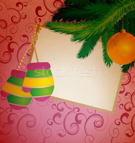 Karácsony tekercs klasszikus illusztráció fa terv Stock fotó © cherju