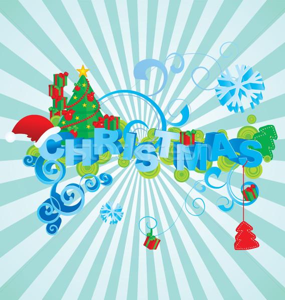 Noel 3d metin bağbozumu stil kâğıt ağaç Stok fotoğraf © cherju