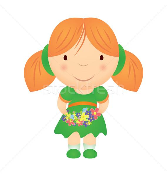 vector cartoon girl holding flowers isolated on white Stock photo © cherju