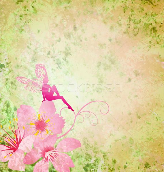 Roze weinig bloem fairy groene voorjaar Stockfoto © cherju