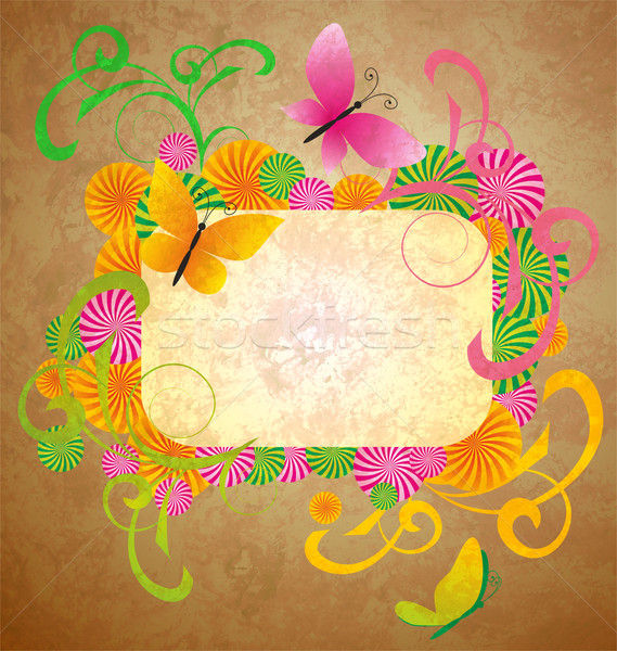 old paper background with butterflies and flourishes frame Stock photo © cherju