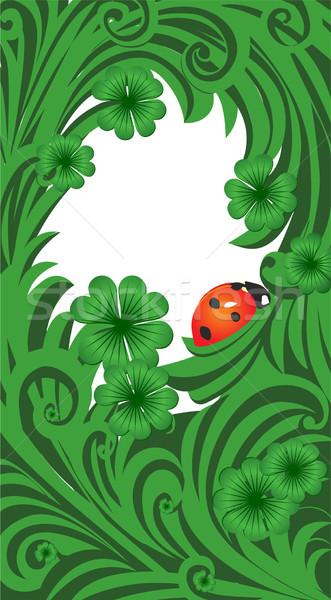Verde vector día marco trébol mariquita Foto stock © cherju