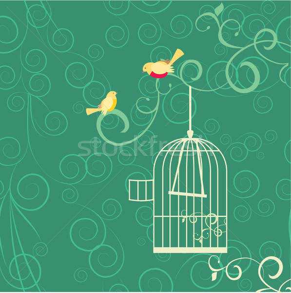 couple of yellow birds, open cage and flourishes on green backgr Stock photo © cherju