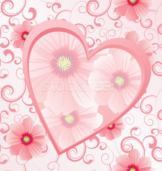 pink heart with flowers on seamless background vector image Stock photo © cherju