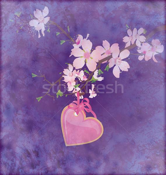 Rózsaszín szív akasztás virágzó faág grunge Stock fotó © cherju
