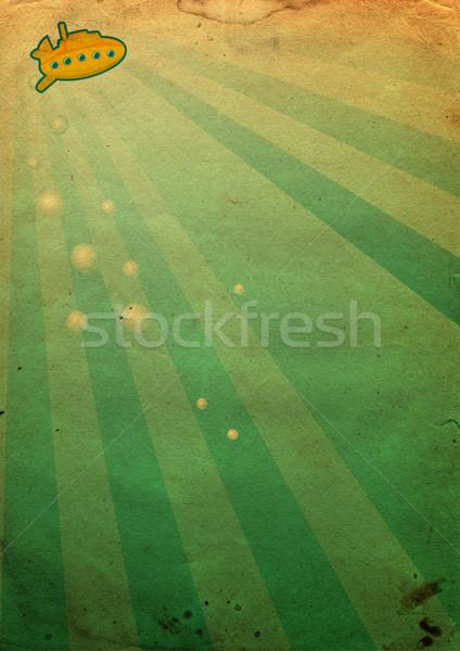 Geel onderzeeër onderwater oud papier natuur zee Stockfoto © cherju