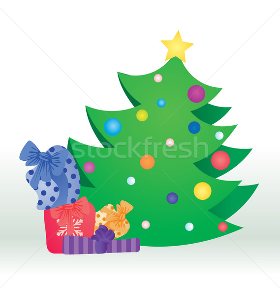 Vector árbol de navidad color regalos aislado blanco Foto stock © cherju