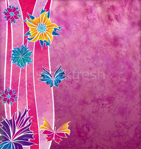 Dekoratív magenta virágok hullám formák grunge Stock fotó © cherju