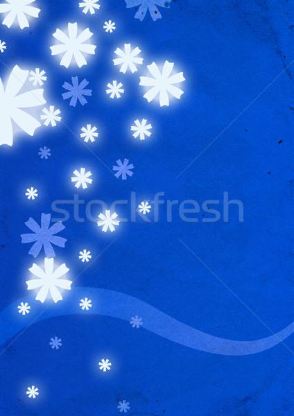 White snowflakes on blue background  Stock photo © cherju