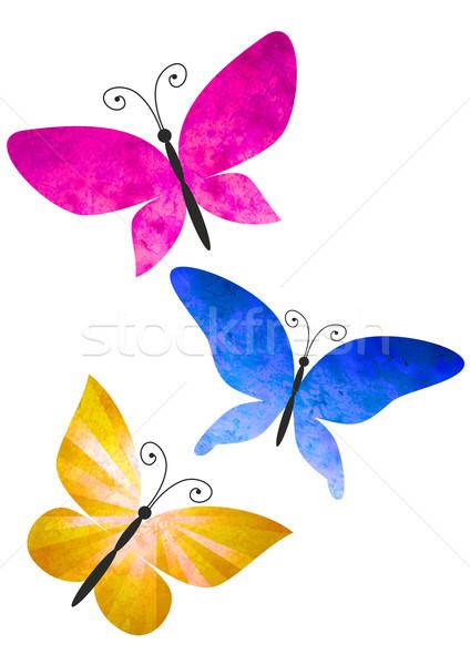 Színes pillangók izolált fehér illusztráció virág Stock fotó © cherju