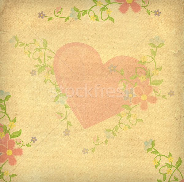 hearts textured paper vintage style background Stock photo © cherju