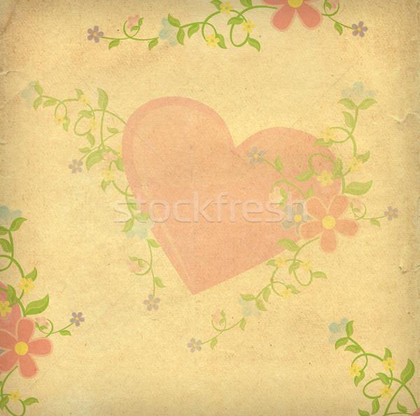 Corazones papel vintage estilo textura Foto stock © cherju