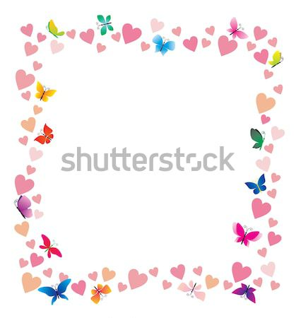 Vektor szívek pillangók rajz keret fehér Stock fotó © cherju