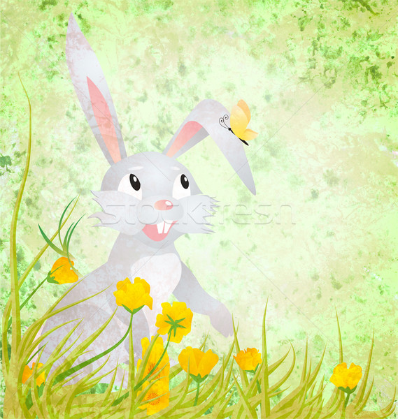 Pasen konijn gele bloemen vlinder grunge papier Stockfoto © cherju
