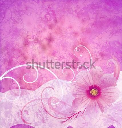 Ibolya szívek festék papír grunge illusztráció Stock fotó © cherju