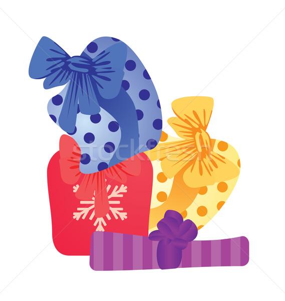 Vector colorido cajas de regalo cumpleanos Navidad Cartoon Foto stock © cherju