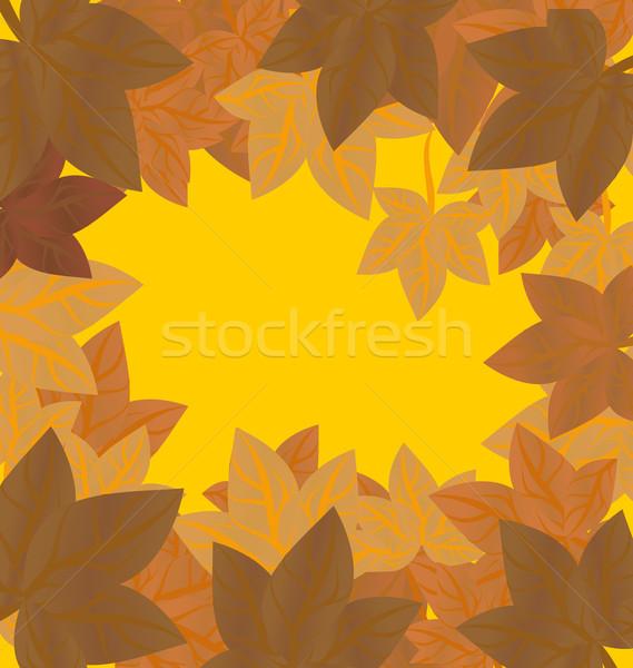 Vektor keret őszi levelek piros narancs citromsárga Stock fotó © cherju