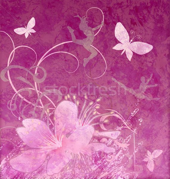 Estilo retro floral rosa mariposa resumen naturaleza Foto stock © cherju