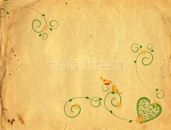 Madarak fű régi papír kéz boldog terv Stock fotó © cherju