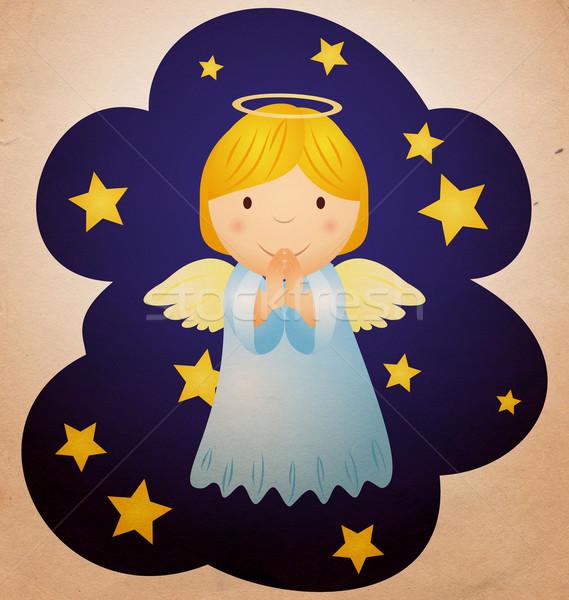 Vintage christmas anioł nieba niebo miłości Zdjęcia stock © cherju