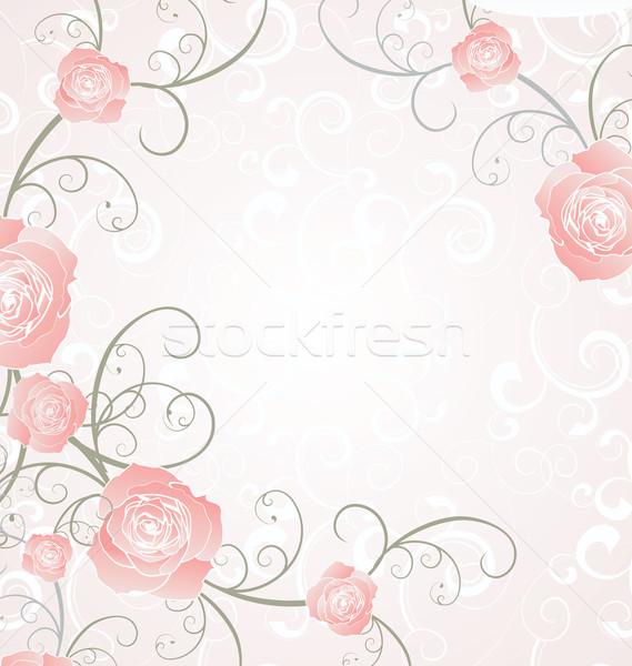 vector roses frame pink, romance love illustration Stock photo © cherju