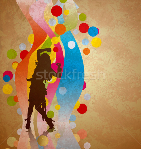 Colorido olas mujer baile silueta flor Foto stock © cherju