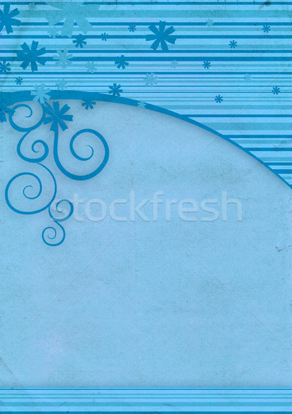 blue blank old paper with winter decor frame Stock photo © cherju