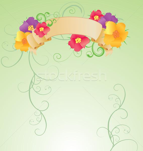 Színes virágok tekercs zöld tavasz természet Stock fotó © cherju