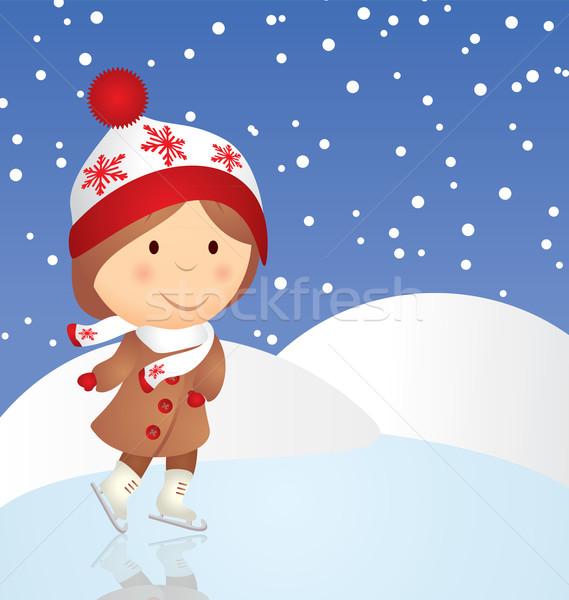 vector cartoon girl skating Stock photo © cherju