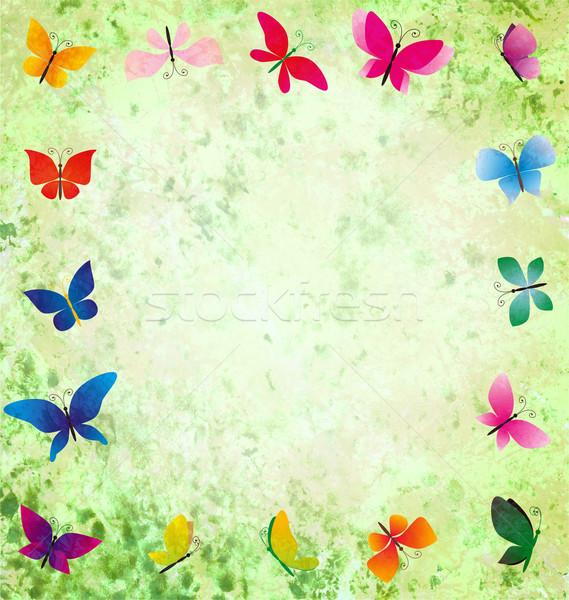 Verde grunge colorido mariposas marco papel Foto stock © cherju