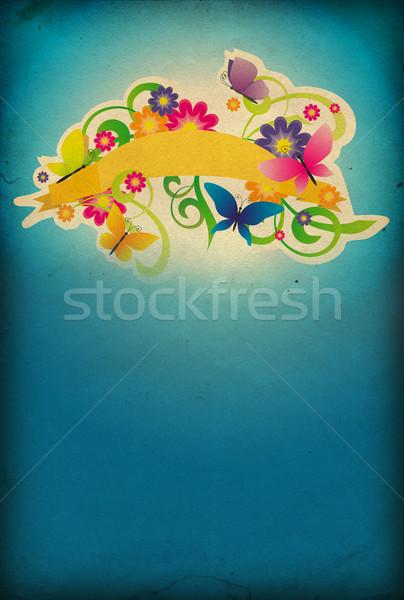 Blauw abstract retro bloemen natuur ontwerp Stockfoto © cherju