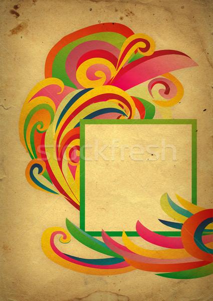 Színes csíkok keret régi papír mintázott textúra Stock fotó © cherju