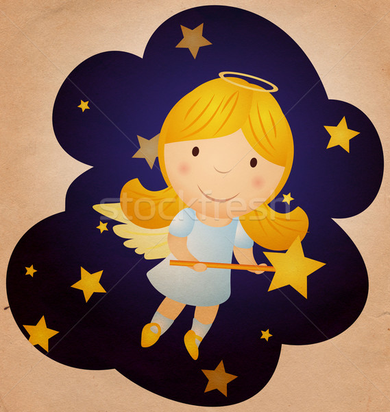 vintage christmas angel in the night sky Stock photo © cherju