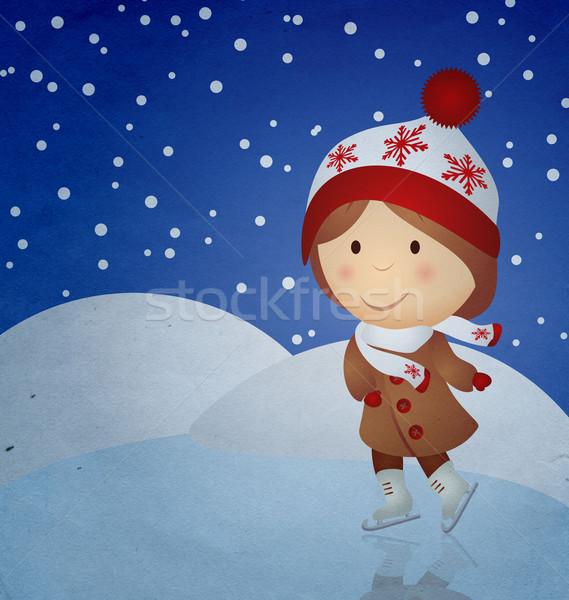 Klasszikus rajz lány korcsolyázás gyerekek tánc Stock fotó © cherju