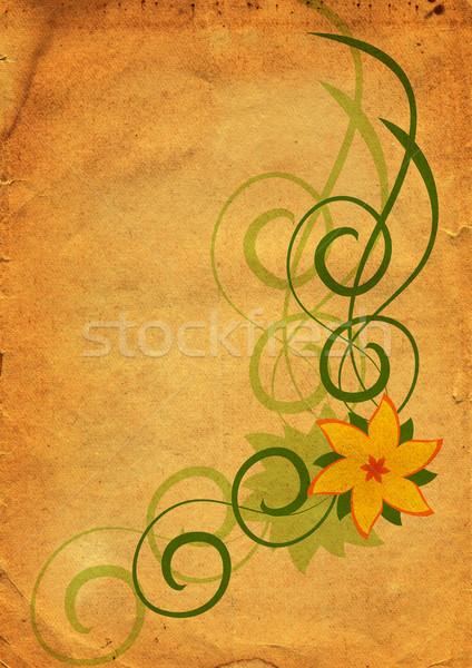 Absztrakt klasszikus virág citromsárga terv levél Stock fotó © cherju